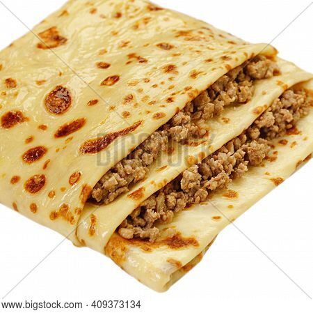 Pancake Stuffed By Meat White Background View