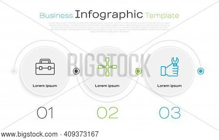 Set Line Toolbox, Wheel Wrench And Wrench Spanner. Business Infographic Template. Vector