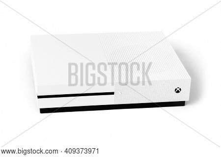 Moscow, Russia - April 18, 2019: Xbox game console - isolated on white background.