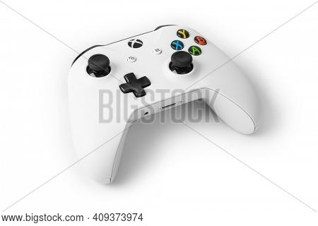 Moscow, Russia - April 18, 2019: Wireless gamepad for Xbox console - isolated on white background.