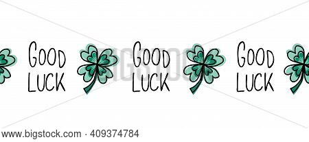 Green Four-leaf Good Luck Clover Seamless Vector Border. Repeating Horizontal Pattern Illustration G