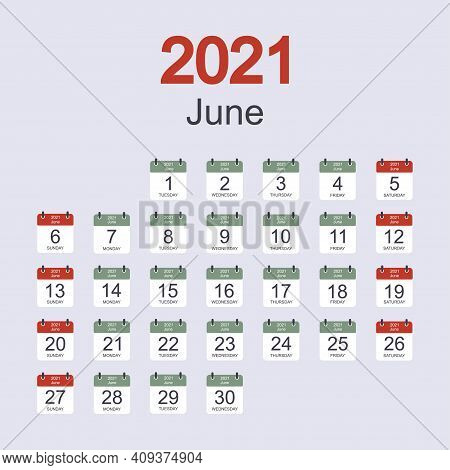 Monthly Calendar Template For June 2021 With Daily Date. Week Starts On Ionsunday. Flat Style. Vecto