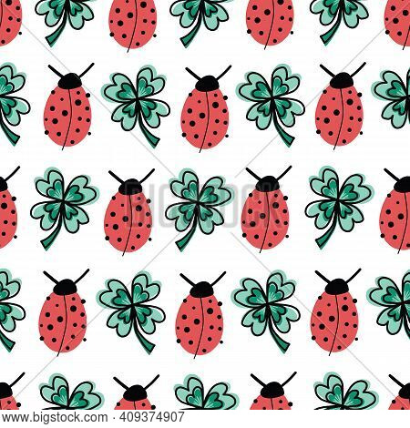 Good Luck Four-leaf Clover And Ladybug Charms Talisman Seamless Vector Pattern. Repeating Hand Drawn