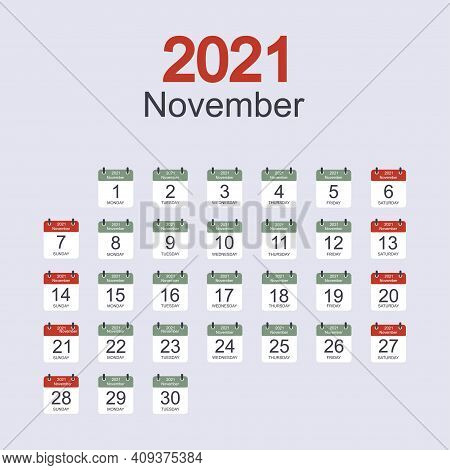 Monthly Calendar Template For November 2021 With Daily Date. Week Starts On Sunday. Flat Style. Vect