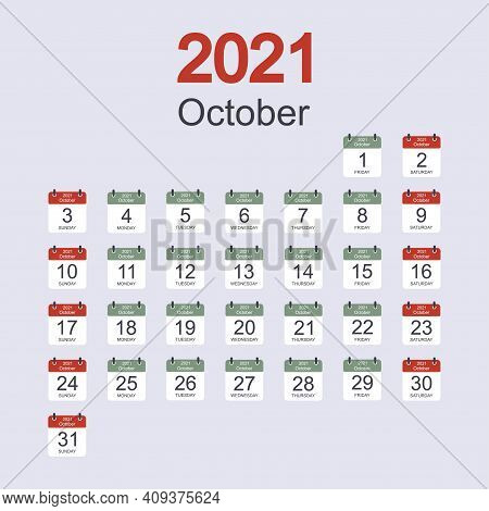 Monthly Calendar Template For October 2021 With Daily Date. Week Starts On Sunday. Flat Style. Vecto