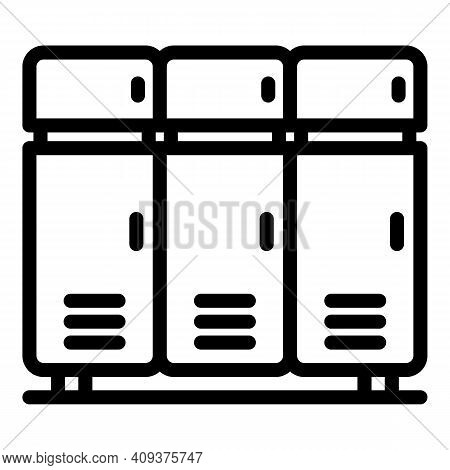 Pool Locker Icon. Outline Pool Locker Vector Icon For Web Design Isolated On White Background