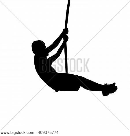 Silhouette Boy Flies On Swing. Illustration Graphics Icon Vector