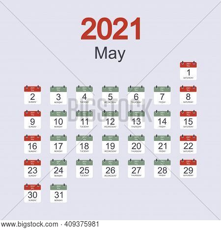Monthly Calendar Template For May 2021 With Daily Date. Week Starts On Sunday. Flat Style. Vector Il