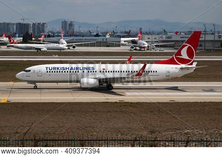 Istanbul, Turkey - March 30, 2019: Turkish Airlines Boeing 737-800 Tc-jgu Passenger Plane Departure