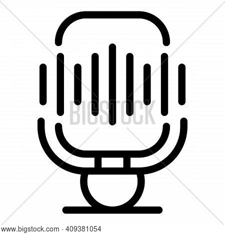 Mike Voice Recording Icon. Outline Mike Voice Recording Vector Icon For Web Design Isolated On White