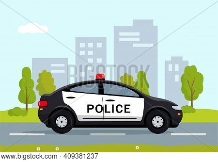 Black Police Car In The City. Cop, Police Officer Auto, Policeman Patrol Automobile. Vector Illustra