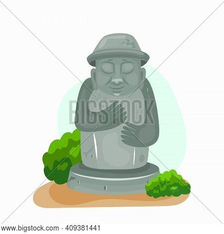 Jeju Dol Hareubang Vector Icon Illustration. Stone Grandfather. Cartoon