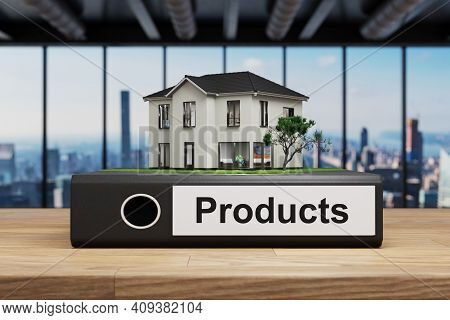Modern House Villa Style Standing Folder On Wooden Desk In Office, Products Label, 3d Illustration