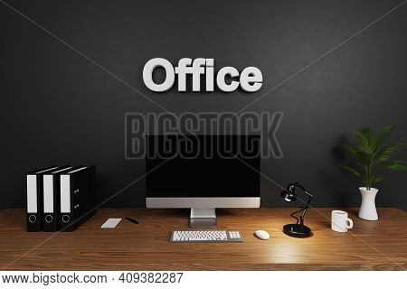 Clean Office Workspace With Computer Screen And Dark Concrete Wall; Office Lettering; Hiring Concept