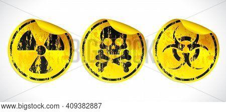 Danger Grunge Vector Signs Stickers Set. Radiation Sign, Biohazard Sign, Toxic Sign, Poison Sign. Ve