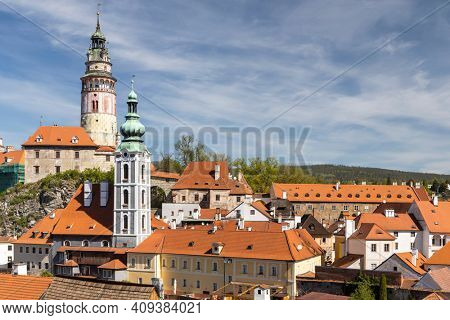 View of the town and castle of Czech Krumlov, Southern Bohemia, Czech Republic
