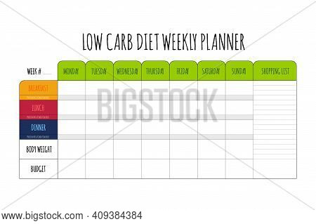 Colored Cute Diet Weekly Planner Isolated On White Background. Food Menu Plan For Diet. Daily Schedu