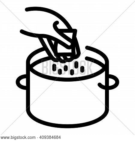 Salting Food Icon. Outline Salting Food Vector Icon For Web Design Isolated On White Background