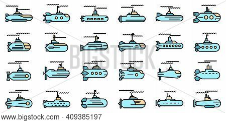 Submarine Icons Set. Outline Set Of Submarine Vector Icons Thin Line Color Flat On White