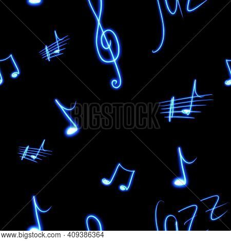 Musical Notes, Violin Key On A Black Background Seamless Pattern