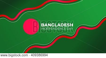 Bangladesh Independence Day. Green Abstract Background With Red Line Design. Good Template For Bangl
