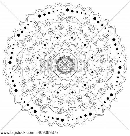 Mandala Antistress. Beautiful Doodle Mandala. Ethnic Decorative Elements. Islam, Arabic, Indian, Ott