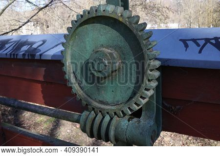 Old Mechanism With A Cogwheel And A Worm Gear