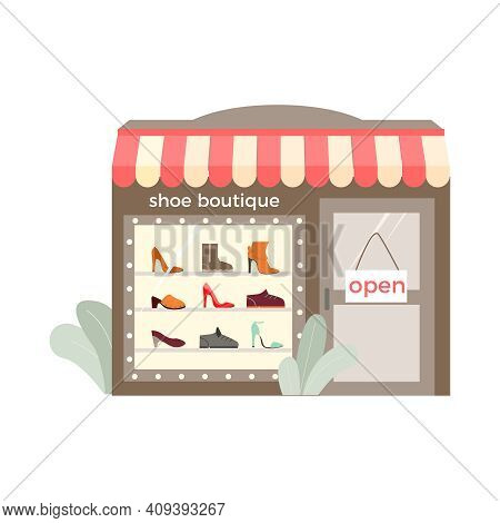 Footwear Designer Shoemaker Shop Flat Composition With View Of Storefront Of Shoe Boutique Vector Il