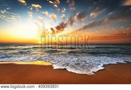 Sunset Sea Waves Sky Clouds Landscape. Golden Sands.