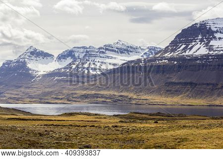 Mountains And Fjord Landscape In Iceland