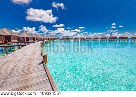 Panoramic Landscape Of Maldives Beach. Tropical Panorama, Luxury Water Villa Resort With Wooden Pier