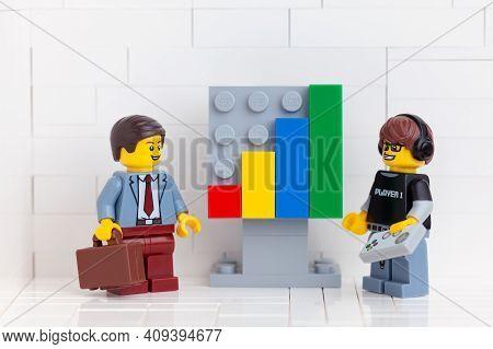 Tambov, Russian Federation - November 14, 2020 Lego Entrepreneur Minifigure And Lego Video Game Guy