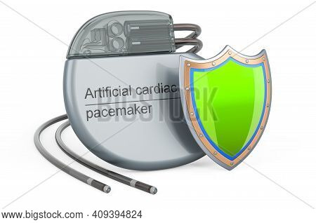 Artificial Cardiac Pacemaker Pump With Shield, 3d Rendering Isolated On White Background