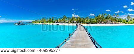 Tropical Paradise: View Of Overwater Bungalows At A Resort In The Maldives, Indian Ocean. Stunning L
