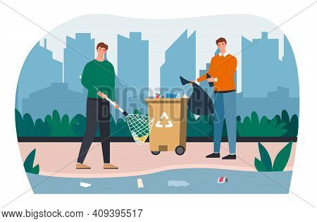 Two Male Characters Are Cleaning The Lake Together. Concept Of Nature Cleanup With Volunteers Pickin