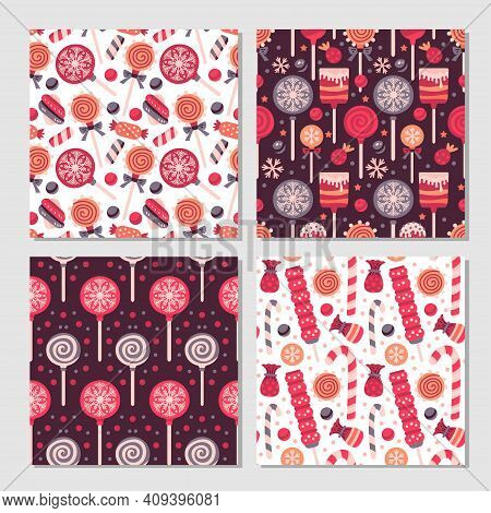 Scrapbook Candy Pattern Set. Collection Of Prints With Lollipop, Candy. Vector Cute Seamless Backgro