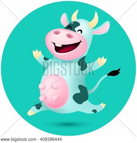 Funny Cartoon Cow With Dark Spotted . Cute Emotional Animal Jumping On Blue Background. Vector Illus