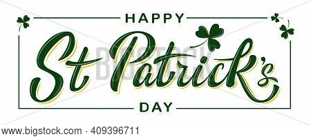Vector Happy St Patrick's Day Logotype. Hand Sketched Irish Celebration Design With Clover Leaves Is