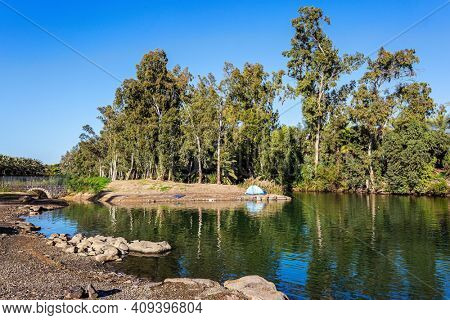Israel. Yardenit is a place on the Jordan River, where Christian pilgrims immerse themselves in the river. Wonderful walk along the river. The Jordan  is the most famous river in the world.