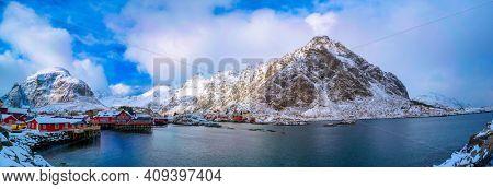 Reine on the Lofoten islands in northern Norway in winter