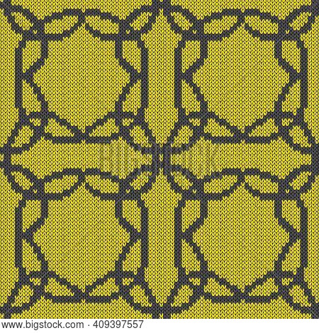 Geometrical Seamless Knitted Vector Pattern As A Fabric Texture In Grey And Yellow Hues