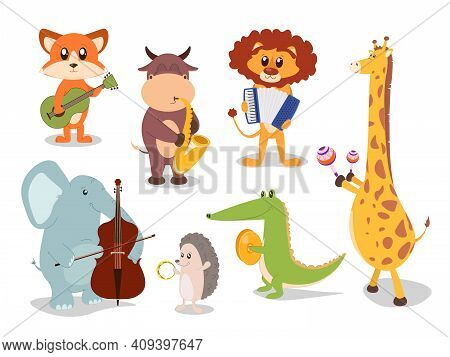 Collection Of Cute Cartoon Animals Musicians Characters. Jazz Musicians Characters
