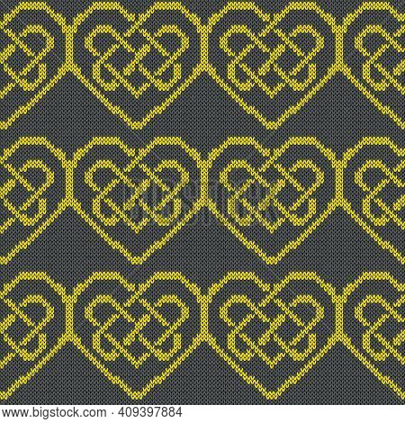 Ornamental Knitting Seamless Vector Pattern In Yellow And Grey Hues As A Fabric Texture