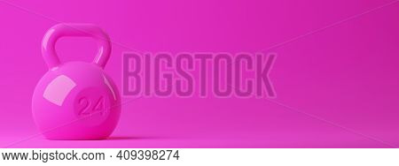 Single Pink Fitness Gym Kettlebell On Pink Background, Muscle Exercise, Bodybuilding Or Woman's Fitn