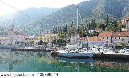 Lustica, Montenegro - 15.10.2020: Luxury Yacht In Kotor Marina In Montenegro