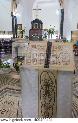 Mount Of Beatitudes. Israel. January 27, 2020: Interior Of The Church On The Mount Of Beatitudes In
