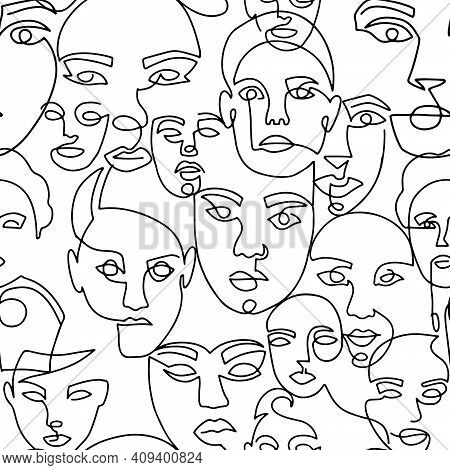 Line Art Seamless Pattern With Female Portraits On A White Background. One Line Style Endless Backgr