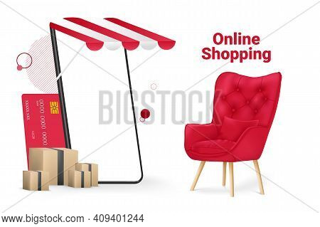 Online Shopping Store And Mobile Mockup Template Vector Illustration