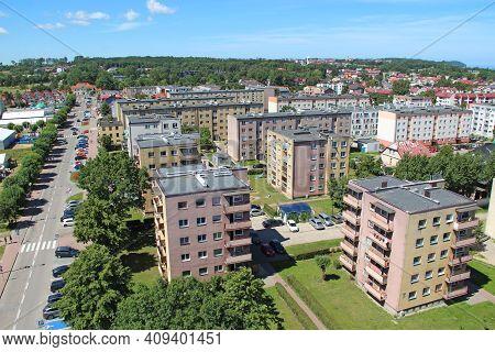 Wladyslawowo / Poland. 24 June 2019:  Panorama Of Wladyslawowo Town With Multistory Modern Blocks Of