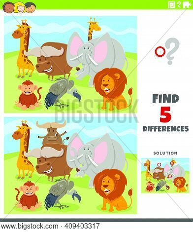 Cartoon Illustration Of Finding The Differences Between Pictures Educational Game For Kids With Wild